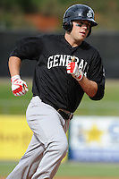Jackson Generals first baseman Steven Proscia #6 rounds third after hitting a homerun during a game against the Tennessee Smokies at Smokies Park on May 14, 2012 in Kodak, Tennessee. The Smokies defeated the Generals 15-4 in game one of a double header. (Tony Farlow/Four Seam Images).