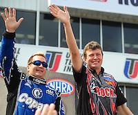 May 1, 2011; Baytown, TX, USA: NHRA top fuel driver David Grubnic (right) and Brandon Bernstein during the Spring Nationals at Royal Purple Raceway. Mandatory Credit: Mark J. Rebilas-