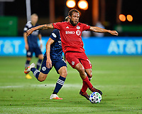 LAKE BUENA VISTA, FL - JULY 26: Nick DeLeon of Toronto FC passes the ball during a game between New York City FC and Toronto FC at ESPN Wide World of Sports on July 26, 2020 in Lake Buena Vista, Florida.
