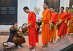 Part of a procession of hundreds of Buddhist monks through the streets of Luang Prabang that occurs every day at daybreak. Seated onlookers give them gifts as they pass by. The monks are dressed in their traditional orange robes.