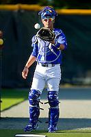 Cameron Gallagher #35 of the Burlington Royals catches a bullpen session at Burlington Athletic Park on June 15, 2012 in Burlington, North Carolina.  (Brian Westerholt/Four Seam Images)