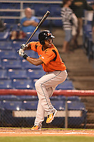 Bowie Baysox shortstop Sharlon Schoop (22) at bat during a game against the Binghamton Mets on August 3, 2014 at NYSEG Stadium in Binghamton, New York.  Bowie defeated Binghamton 8-2.  (Mike Janes/Four Seam Images)