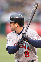 OAKLAND, CA - June 1:  Nick Punto of the Minnesota Twins bats during the game against the Oakland Athletics at the McAfee Coliseum in Oakland, California on June 1, 2007.  The Athletics defeated the Twins 1-0.  Photo by Brad Mangin