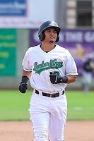 Clinton LumberKings third baseman Eugene Helder (5) jogs to third base during a Midwest League game against the Lansing Lugnuts on July 15, 2018 at Ashford University Field in Clinton, Iowa. Clinton defeated Lansing 6-2. (Brad Krause/Four Seam Images)