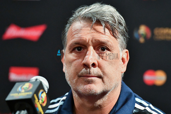 Argentina manager Gerardo Martino during team press conference on the eve of Copa America Centenario championship match, Saturday, June 25, 2016 in East Rutherford, New Jersey. (TFV Media via AP) *Mandatory Credit*