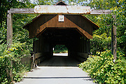 Dingleton Covered Bridge in Cornish, New Hampshire USA. This bridge crosses Mill Brook.