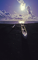 Outrigger canoe, Waimea beach, west Kauai, late afternoon.