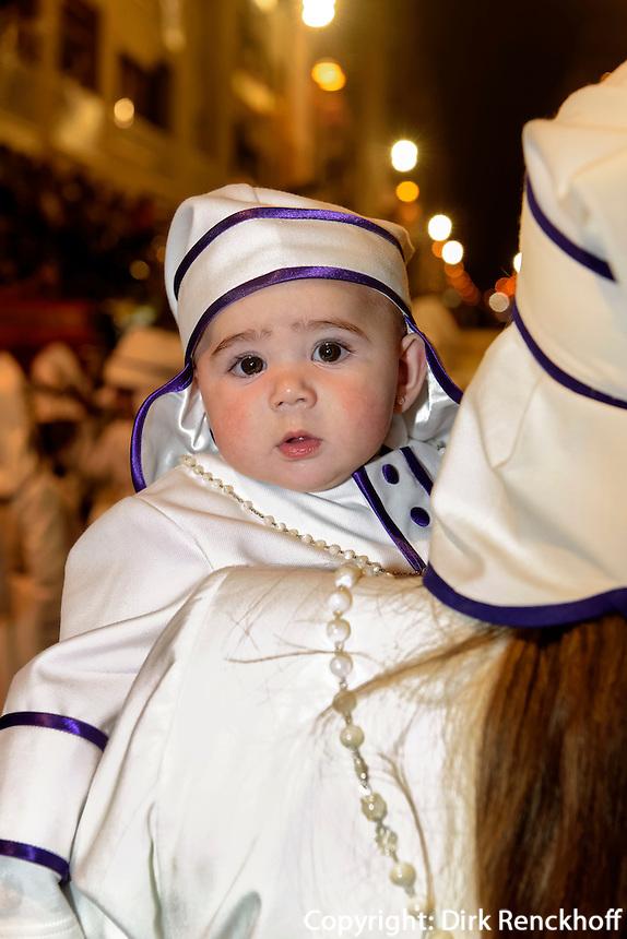 Bruderschaft Paso Blanco bei  der Karfreitagsprozession der Semana Santa (Karwoche) in Lorca,  Provinz Murcia, Spanien, Europa