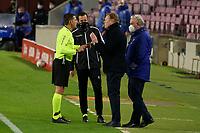 13th February 2021; Camp Nou, Barcelona, Catalonia, Spain; La Liga Football, Barcelona versus Deportivo Alaves; Ronald Koeman FC Barcelona coach is spoken to by the referee