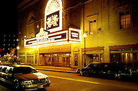 theater, neon lights, Pittsburgh, PA, Pennsylvania, Benedum Center is illuminated with neon lights at night in downtown Pittsburgh, PA