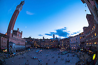 palio di siena, the race is over, the party will start now at the winning contrada, very few people still stay in the square