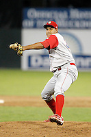 Williamsport Crosscutters pitcher Juary Gomez #34 during the second game of a doubleheader against the Batavia Muckdogs at Dwyer Stadium on August 23, 2011 in Batavia, New York.  Batavia defeated Williamsport 2-1.  (Mike Janes/Four Seam Images)