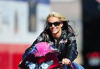 Oct. 29, 2011; Las Vegas, NV, USA: NHRA pro stock motorcycle rider Angie Smith during qualifying for the Big O Tires Nationals at The Strip at Las Vegas Motor Speedway. Mandatory Credit: Mark J. Rebilas-