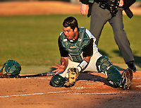 15 April 2008: University of Vermont Catamounts' catcher Jeff Nolet, a Junior from Concord, MA, in action against the Dartmouth College Big Green at Historic Centennial Field in Burlington, Vermont. The Catamounts rallied from a 7-3 deficit going into the bottom of the ninth, to tie and then win in the tenth: 8-7 over Dartmouth in a non-conference NCAA game...Mandatory Photo Credit: Ed Wolfstein Photo