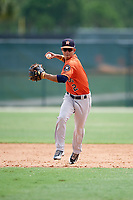 GCL Astros shortstop Alfredo Angarita (2) during a game against the GCL Marlins on July 22, 2017 at Roger Dean Stadium Complex in Jupiter, Florida.  GCL Astros defeated the GCL Marlins 5-1, the game was called in the seventh inning due to rain.  (Mike Janes/Four Seam Images)