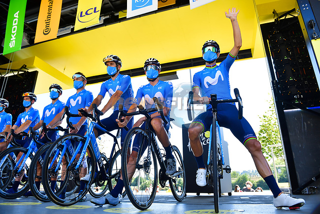 Movistar Team at sign on before the start of Stage 8 of Tour de France 2020, running 141km from Cazeres-sur-Garonne to Loudenvielle, France. 5th September 2020.<br /> Picture: ASO/Pauline Ballet | Cyclefile<br /> All photos usage must carry mandatory copyright credit (© Cyclefile | ASO/Pauline Ballet)