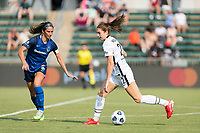 CARY, NC - SEPTEMBER 12: Abby Erceg #6 of the NC Courage defends against Morgan Weaver #22 of the Portland Thorns during a game between Portland Thorns FC and North Carolina Courage at WakeMed Soccer Park on September 12, 2021 in Cary, North Carolina.