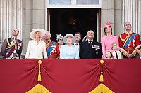 Prince Edward, Camilla Duchess of Cornwall, Prince Charles, Queen, Prince Phillip, Catherine Duchess of Cambridge, Princess Charlotte, Prince George, Prince William<br /> on the balcony of Buckingham Palace during Trooping the Colour on The Mall, London. <br /> <br /> <br /> ©Ash Knotek  D3283  17/06/2017