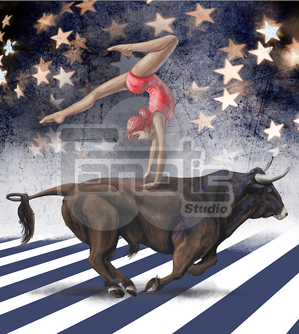 Illustrative image of female circus performer performing on top of bull