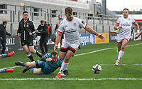 Sunday 25th October 2020 | Ulster vs Dragons<br /> <br /> Louis Ludik drives over to score his second try for Ulster against the Dragons during the Guinness PRO14 match between Ulster and Dragons at Kingspan Stadium in Belfast. Photo by John Dickson / Dicksondigital