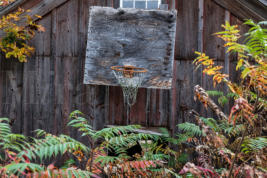 Weathered old basketball hoop attached to a barn, Bristol, Vermont, USA.