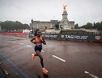 4th October 2020, London, England; 2020 London Marathon; Ruth Chepngetich (KEN) in front of Buckingham Palace during the Elite Women's Race. The historic elite-only Virgin Money London Marathon taking place on a closed-loop circuit around St James's Park in central London on Sunday 4 October 2020.