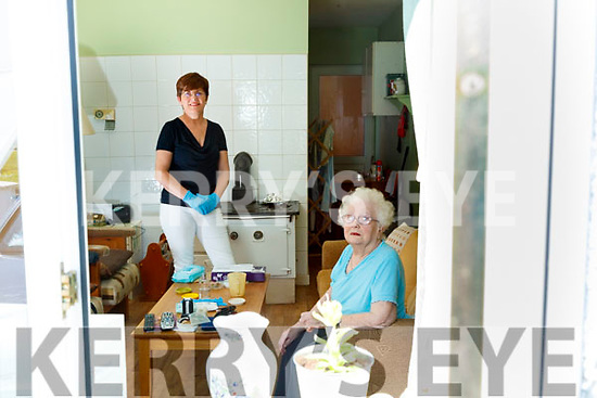 Betty Moody pictured at her home in Moyvane with her friend and neighbour Frances Leahy