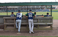 Starting pitcher Mike Foltynewicz (25) of the Lexington Legends waits in the bulpen with pitching coach Dave Borkowski )36) prior to a game against the Greenville Drive on August 5, 2011, at Fluor Field at the West End in Greenville, South Carolina. Foltynewicz was a first-round pick (No. 19 overall) of the Astros in the 2010 First-Year Player Draft. (Tom Priddy/Four Seam Images)