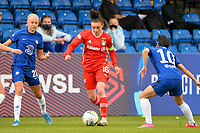 2nd May 2021; Kingsmeadow, London, England;  Pernille Harder CFC, 23, Lina Magull FCB takes on Fuss and So-Yun Ji CFC  during the UEFA Womens Champions League, Chelsea FC versus FC Bayern Munich