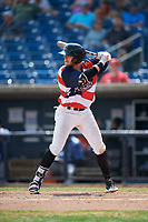 Quad Cities River Bandits left fielder Seth Beer (35) at bat during a game against the West Michigan Whitecaps on July 23, 2018 at Modern Woodmen Park in Davenport, Iowa.  Quad Cities defeated West Michigan 7-4.  (Mike Janes/Four Seam Images)