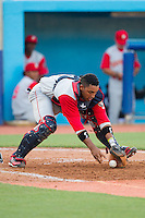 Brooklyn Cyclones catcher Adrian Abreau (2) chases after the ball during the game against the Hudson Valley Renegades at Dutchess Stadium on June 18, 2014 in Wappingers Falls, New York.  The Cyclones defeated the Renegades 4-3 in 10 innings.  (Brian Westerholt/Four Seam Images)