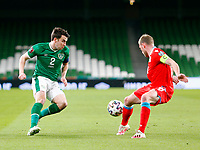 27th March 2021; Aviva Stadium, Dublin, Leinster, Ireland; 2022 World Cup Qualifier, Ireland versus Luxembourg; Seamus Coleman (Republic of Ireland) looks for a way past Laurent Jans (Luxembourg)