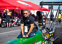 Sep 5, 2020; Clermont, Indiana, United States; NHRA top alcohol dragster driver Matt Cummings during qualifying for the US Nationals at Lucas Oil Raceway. Mandatory Credit: Mark J. Rebilas-USA TODAY Sports
