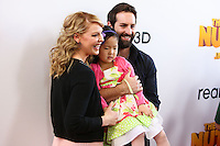 """LOS ANGELES, CA - JANUARY 11: Actress Katherine Heigl, daughter Nancy Leigh Kelley and husband Josh Kelley at the World Premiere Of Open Road Film's """"The Nut Job"""" held at Regal Cinemas L.A. Live on January 11, 2014 in Los Angeles, California. (Photo by Xavier Collin/Celebrity Monitor)"""