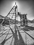 Old silver mine head frames, Ghost town of Tybo, Nev., in the Hot Springs Range.