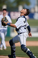Detroit Tigers catcher Sam McMillan (32) catches a popup during a Florida Instructional League intrasquad game on October 24, 2020 at Joker Marchant Stadium in Lakeland, Florida.  (Mike Janes/Four Seam Images)