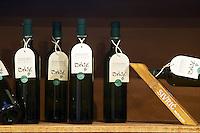 In the winery wine shop, display of various wines from the Podrum Brkic winery, Zilavka. Podrum Vinoteka Sivric winery, Citluk, near Mostar. Federation Bosne i Hercegovine. Bosnia Herzegovina, Europe.