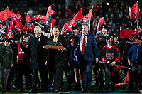 NZ Rugby's Dr Farah Palmer brings out the series trophy after the 2021 Super Rugby Aotearoa final between the Crusaders and Chiefs at Orangetheory Stadium in Christchurch, New Zealand on Saturday, 8 May 2021. Photo: Joe Johnson / lintottphoto.co.nz