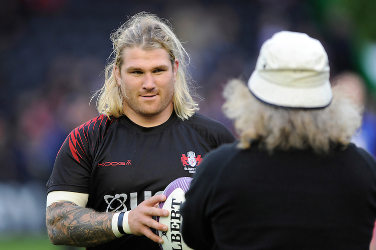 Richard Hibbard of Gloucester Rugby talks with Laurie Fisher, Gloucester Rugby Head Coach