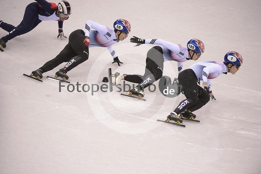 OLYMPIC GAMES: PYEONGCHANG: 17-02-2018, Gangneung Ice Arena, Short Track, Quarterfinals 1000m Men, Hwang Dae Heon (KOR), Lim Hyo Jun (KOR), Seo Yi Ra (KOR), ©photo Martin de Jong