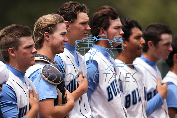 Centennial Bulldogs listen to the National Anthem before an NIAA DI baseball game against Galena, at Bishop Manogue High School in Reno, Nev., on Thursday, May 19, 2016. Cathleen Allison/Las Vegas Review-Journal