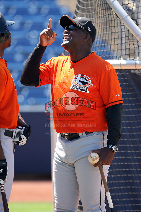 June 11th 2008:  Manager Ramon Sambo of the Delmarva Shorebirds, Class-A affiliate of the Baltimore Orioles, during a game at Classic Park in Eastlake, OH.  Photo by:  Mike Janes/Four Seam Images