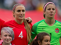CARSON, CA - FEBRUARY 9: Shelina Zadorsky #4 and GK Stephanie Labbe #1 of Canada during a game between Canada and USWNT at Dignity Health Sports Park on February 9, 2020 in Carson, California.