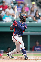 Center fielder Michael Harris II (24) of the Rome Braves in a game against the Greenville Drive on Tuesday, August 3, 2021, at Fluor Field at the West End in Greenville, South Carolina. (Tom Priddy/Four Seam Images)