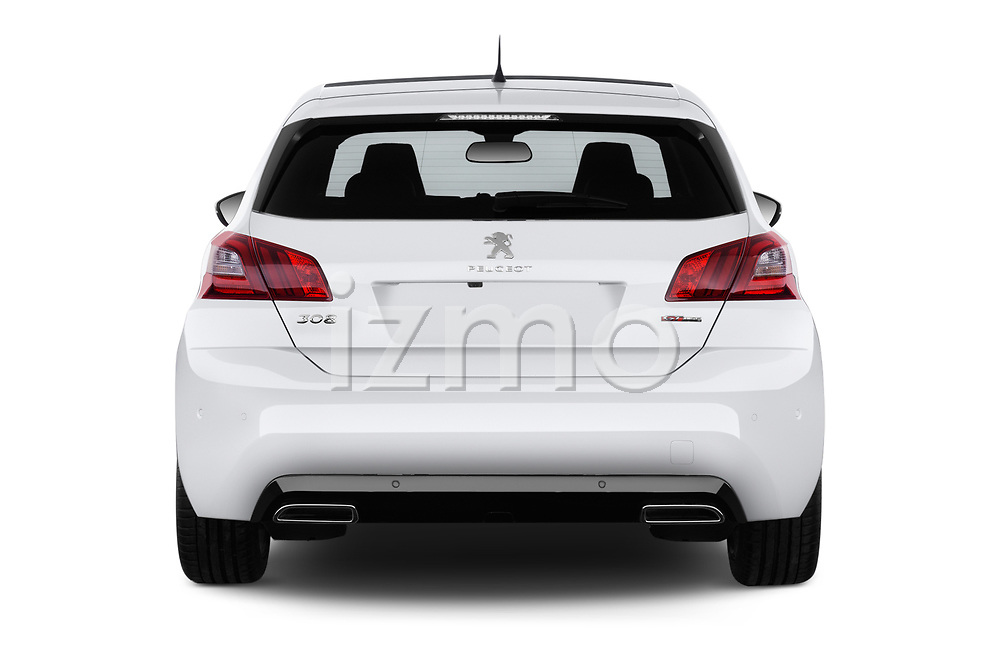 Straight rear view of a 2018 Peugeot 308 GT Line 5 Door Hatchback stock images
