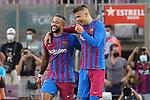 FC Barcelona's Memphis Depay (l) and Gerard Pique celebrate goal during La Liga match. August 15, 2021. (ALTERPHOTOS/Acero)
