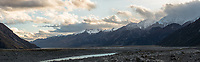 Tasman River flats with Southern Alps in background at sunset, Aoraki Mount Cook National Park, UNESCO World Heritage Area, Mackenzie Country, New Zealand, NZ
