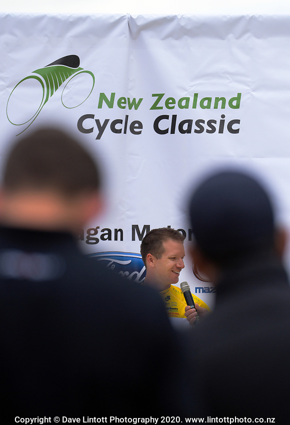 Tour leader Aaron Gate (New Zealand/Black Spoke Pro Cycling Academy) after day one of the NZ Cycle Classic UCI Oceania Tour in Wairarapa, New Zealand on Wednesday, 15 January 2020. Photo: Dave Lintott / lintottphoto.co.nz