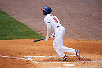 Buffalo Bisons right fielder Domonic Brown (9) at bat during a game against the Louisville Bats on June 23, 2016 at Coca-Cola Field in Buffalo, New York.  Buffalo defeated Louisville 9-6.  (Mike Janes/Four Seam Images)