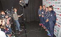Arena Loire,  Trélazé,  France, 13 April, 2016, Semifinal FedCup, France-Netherlands, Press-conference Dutch team, Team in ITF quiz <br /> Photo: Henk Koster/Tennisimages
